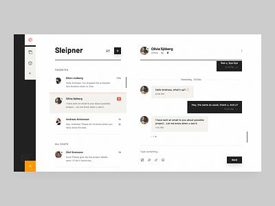 Construction Messenger saas slack hangouts skype web app chat ui message app messages design interface web clean simple ui ux conversation messenger app messenger chat app chat