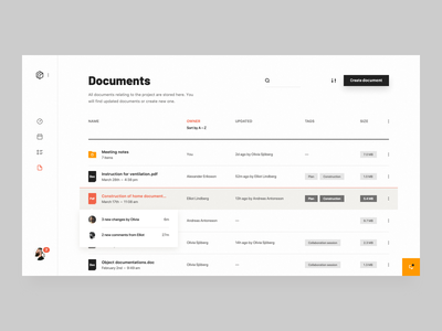 Construction Documents simple interface construction data table web application dash dashboard clean ui ux product design crm saas notification storage cloud storage documents manager doc documents