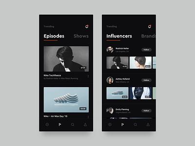 Trending list ui dark app youtube social brandnew interface dark simple ios influencers episodes trending list video applications mobile app
