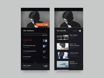 Video browsing details browser video browsing youtube video dailyui simple mobile ui ios interface episode dark app dark brandnew applications app