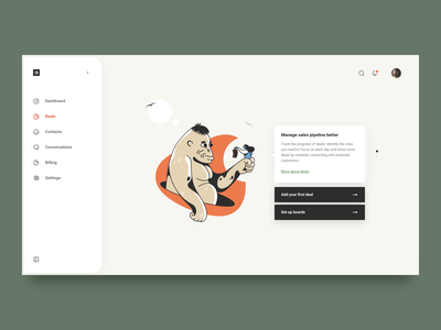 Guided onboarding empty state deals crm design clean simple web illustration ux ui onboarding brandnew