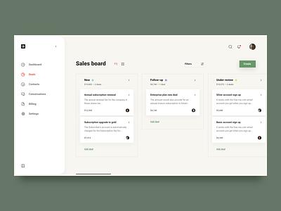Kanban approach for funnel support trello sales board management deals tasks kanban finance dashboard dash web ux ui simple clean brandnew