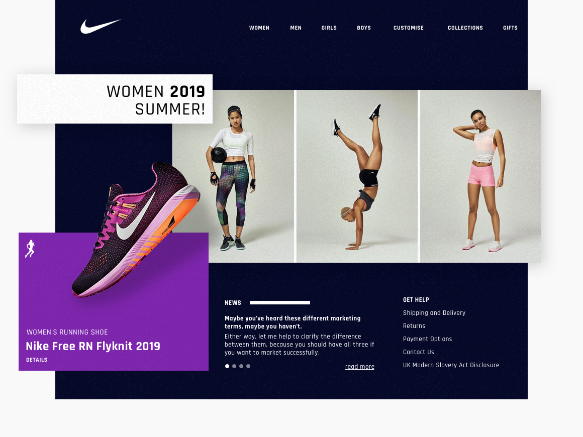 Nike women homepage website design web design ui web