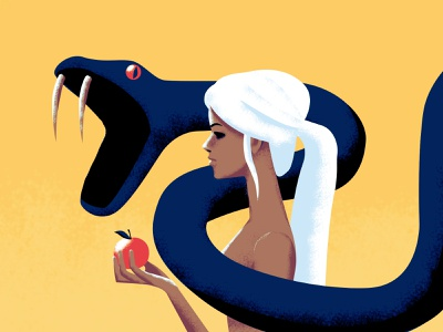 Eve bible adam and eve apple snake eve yellow colorful minimal abstract vector girl character illustration