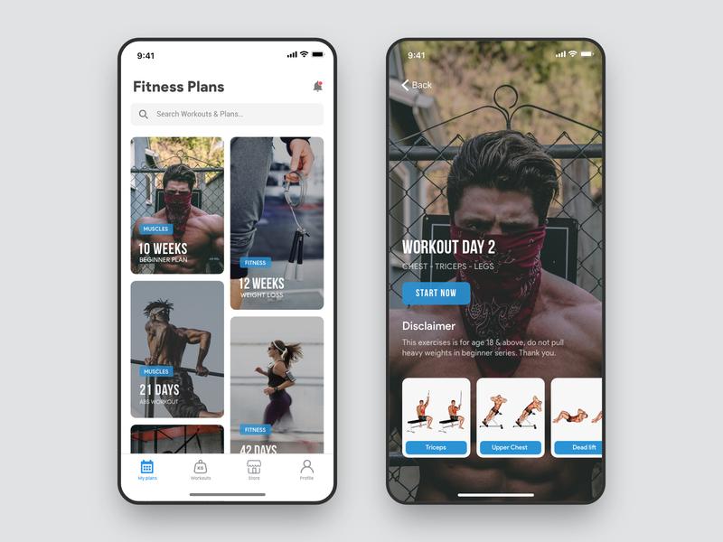 Fitness Plans App apple app design workout app gym workout sports minimal training ui ux mobile ui ios fitness app userinterface plans exercise blue mobile app