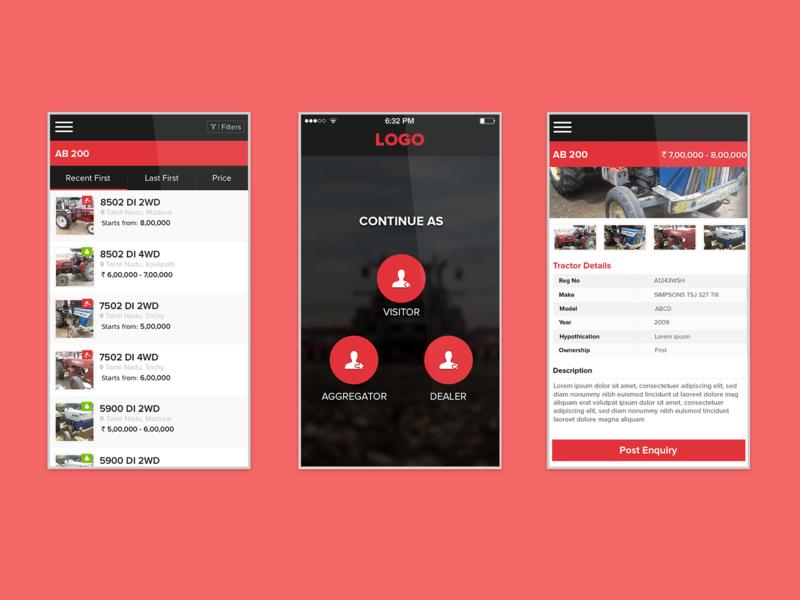 Tractor App Screens