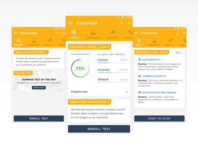 e-Learning dashboard screens
