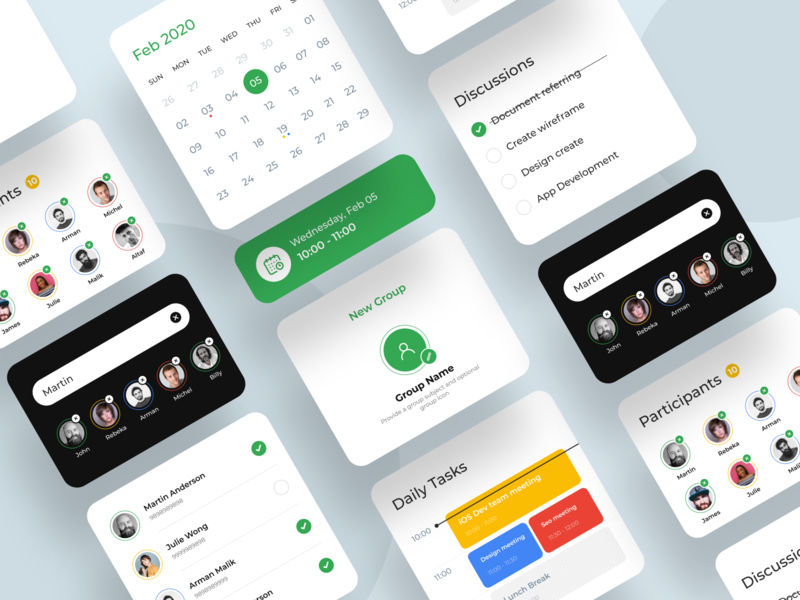 App elements profile ux ui cards design app design app
