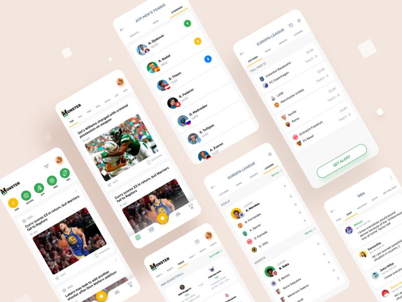Sports App news events sports design app design app sports app
