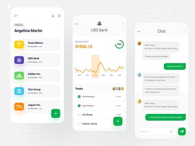 Projects Management App statistics messaging chat tasks project managment design app design app