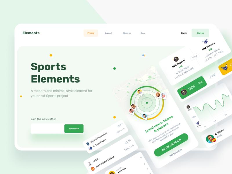 Sports Elements card design cards elements sports website sports website webdesign web