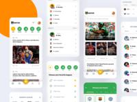 Sports App web team player team sports app sports score results news events app design app