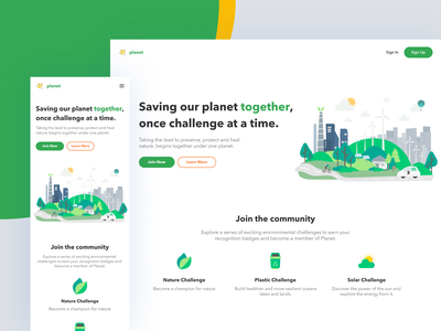 Green Energy Web responsive save earth challenge planet design ui web green energy