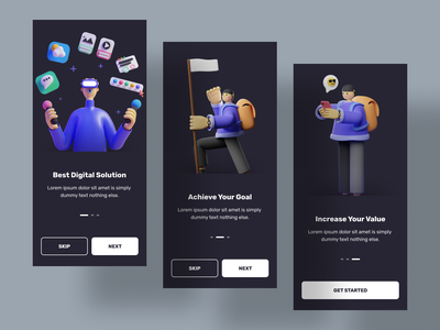 Onboarding screen mobile app design dark onboarding onboarding screen 3d illustration 3d illustration design uidesign ui app