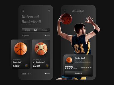 Basketball App app design basketball court dark sports equipment basketball app ball sports design uidesign app ui ui app basketball
