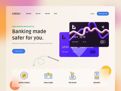 Cardly Design safe banking security design ui web cards ui online banking cards card design debitcard creditcard banking card