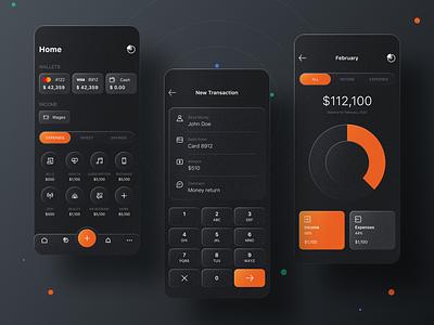 Finance App glassmorphic glass effect cards utility statistics transaction dark ui ui design app design app money app money finance finance app