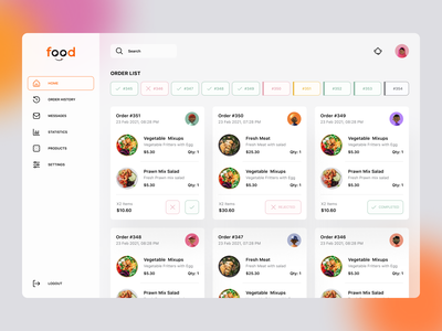 Food order dashboard ui design web cards design cards restaurant owner order history dashboard menu ordering restaurant food app food