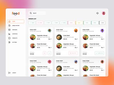 Food order dashboard ui design web cards design cards restaurant owner order history dashboard menu ordering restaurant food app food