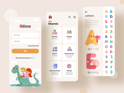 Kidszoo kids app kids app design app design ui letters colorful learning app playful app ui kids illustration