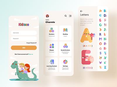 Kidszoo kids app kids app design app design ui letters colorful learning app playful app ui kids illustration