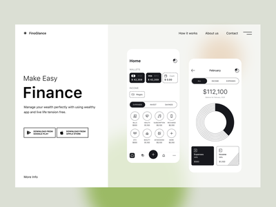FinoFinance web dashboard clean black and white animation money web ui design website finance web finance