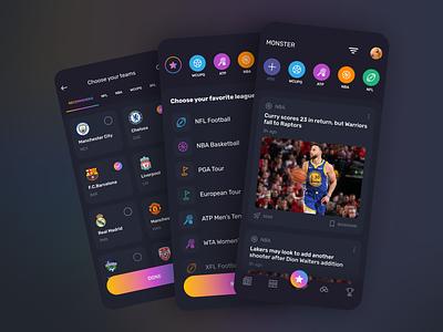 Monster app tournament news app dark ui mobile app design uidesign ui app design app sports sports app