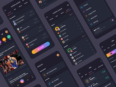 Monster app sports sports app sport design mobile app dark ui news tournament uidesign ui app design app monster app