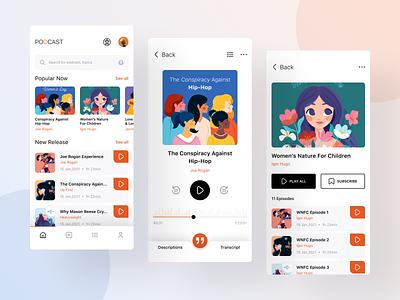 Podcast app episode design app design mobile clean app music radio app ui ui app podcast podcast app