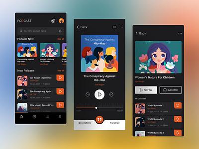 Podcast Dark App dark ui playlists songs music radio mobile design ui app ui app design app podcast app podcast