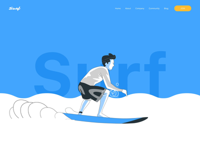 Surfing design summer ui web website interaction animation surf boat surf board surf surfing