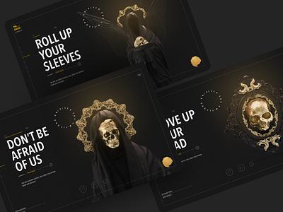 Billelis - hero Section Concept cover art web skull webpage website hero section 3d ui billelis design