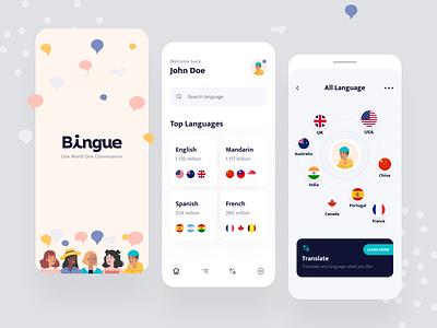 Bingue App translator mobile app design language learning translate app translate ux uiux mobile ui language app language bingue app app design app