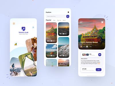 Travel Club App Design travel booking app uiux ux app ui design traveller travelling travel club travel app app design ui design app