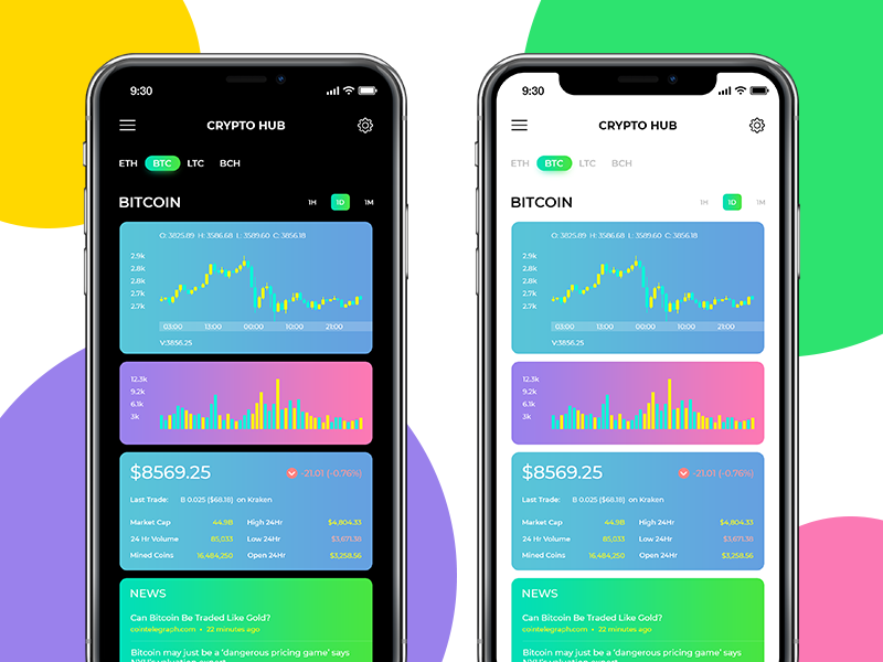 Crypto Hub wallet ux ui trading market ios ethereum currency crypto bitcoin app android