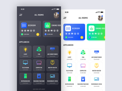 Smart Home App rooms dashboard ui dark control automation electrical iphonex ios app home smart