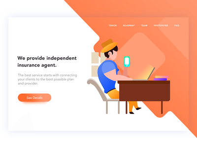Insurance service landing page illustration bitcoin cryptocurrency secure blockchain header landing policy whitepaper web agent insurance