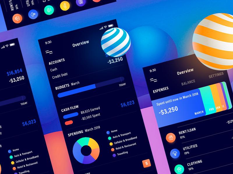 Expense Tracker App (Dark Version) wallet uiux payment money mindinventory iphonex inspiration graph finance tracker expense app