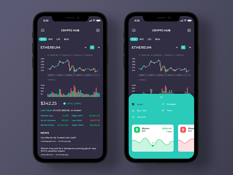 Crypto Hub blockchain app design animation gradient ios dark colorful card cryptocurrency statistics wallet ux ui market ethereum currency crypto bitcoin app iphonex