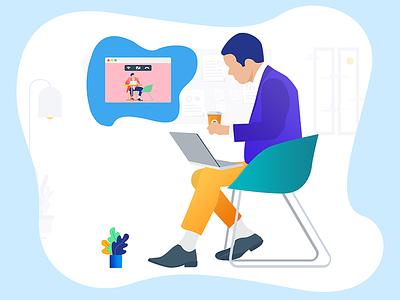 Virtual Meeting virtual meeting video calling call coffee skype office work pc laptop team