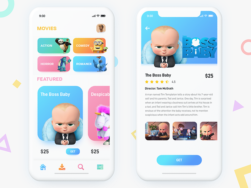 Movie Store ui ux movie layout iphonex gradient design colorful clean category cartoon app animated