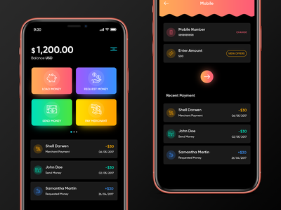 Dark Payment App android app ios app blockchain ethereum bitcoin cryptocurrency merchant app mobile oled iphonex app payment app gradient dark