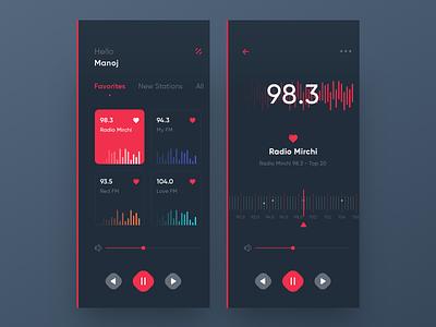 Radio App music player red trending ux ui ios radio fm dark app radio app