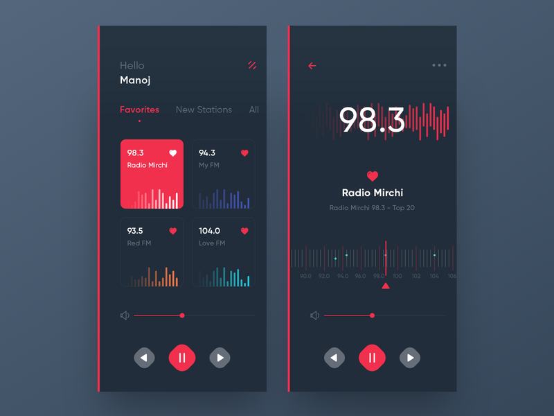 Radio App music player red trending ux ui ios radio fm dark app radio app