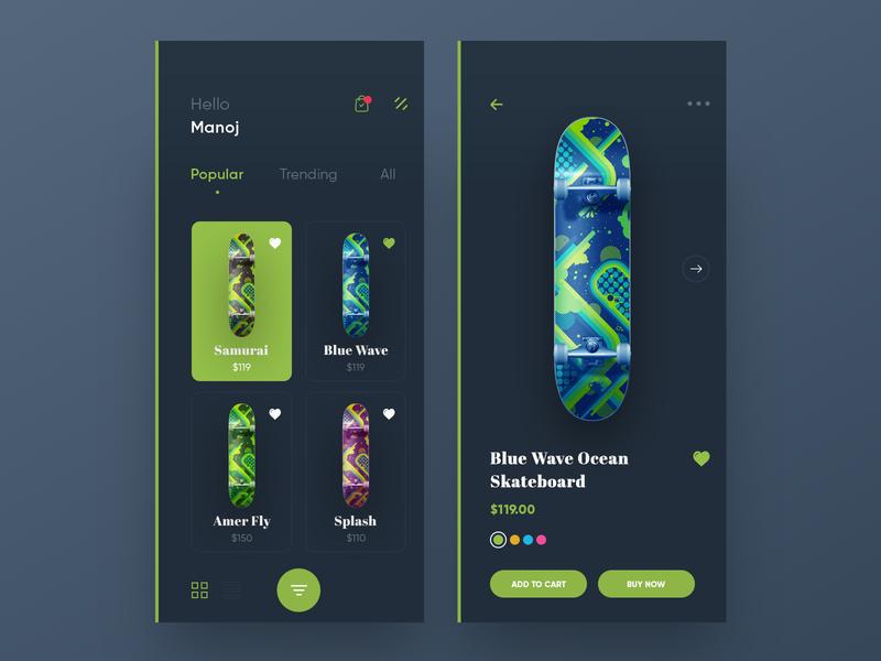 Skateboard App iphonex ios app design ux ui trending green shopping ecommerce app skateboard