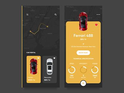 Car Rental App ola uber taxi ride sharing cab booking car booking map location mercedes ferrari ride design ux ui iphonex ios app rent car car rental
