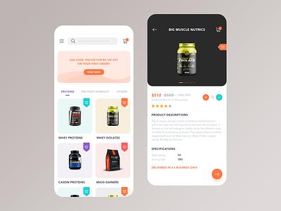 Ecommerce App listing cart colorful trending iphonex design ux ui ecommence app ecommerce