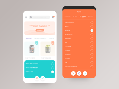 Ecommerce app design ux ui iphonex ios web ecommerce interactions animation swipe sort by filter shopping app ecommerce app