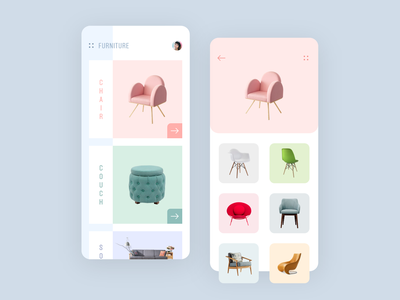 Furniture App motion animation interactions sofa chair shopping ecommerce app design ux ui ios iphonex app ecommerce furniture