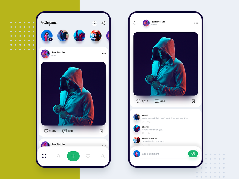 Instagram redesign concept timeline stories swipe profile uiux design ux ui concept app redesign instagram